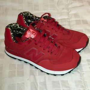 New Balance Red & Leopard Print 574 Sneaker Size 8